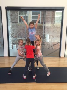 The Cheerleaders Practising one of their routines at the club